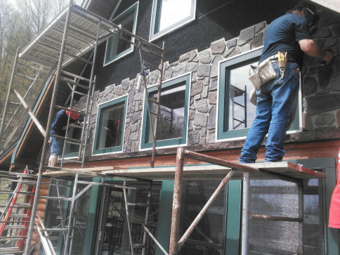 Cultured Stone Installation In Progress